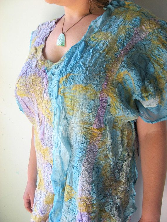 Nuno Felted Silk Tunic  M or L size Plus Size by realfaery on Etsy