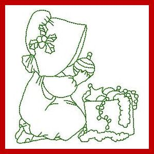 Christmas Sunbonnets - Free Instant Machine Embroidery Designs