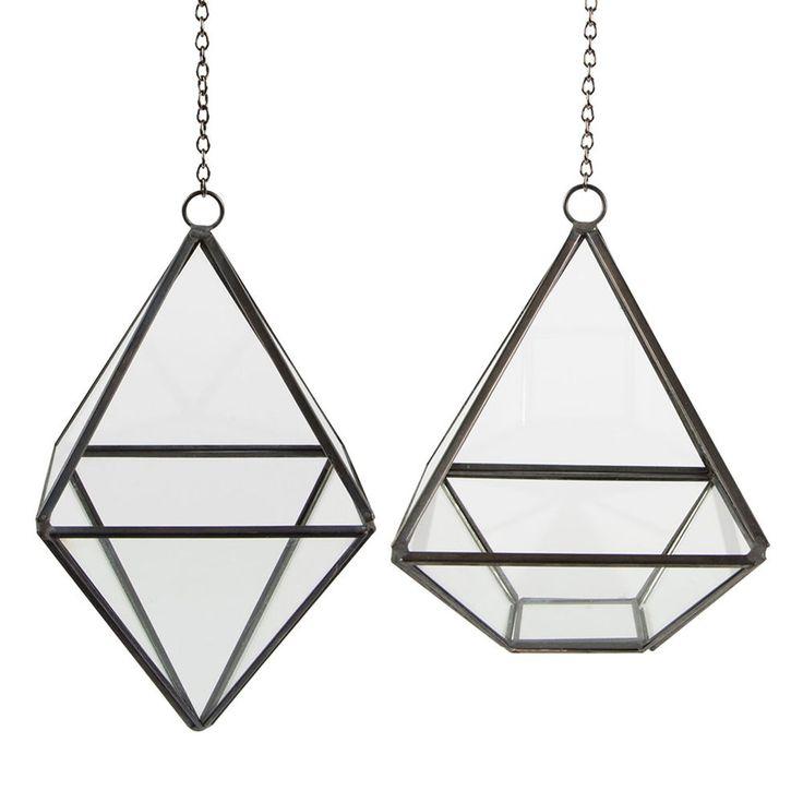 New Hanging Pyramid Shaped Indoor Glass Plant Terrarium / Candle Lantern Holder