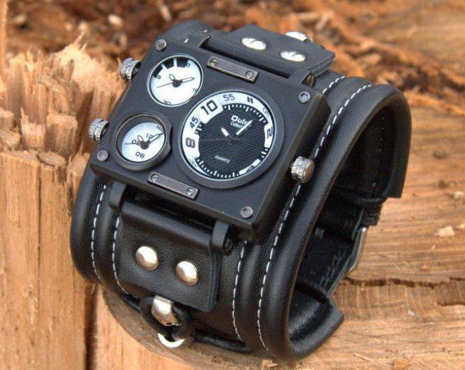 """Mens pols horloge armband """"Carib-2"""". Steampunk horloge. Zwart horloge. Mannen band. Horloge voor hem. Cadeau voor haar. Geschenken"""