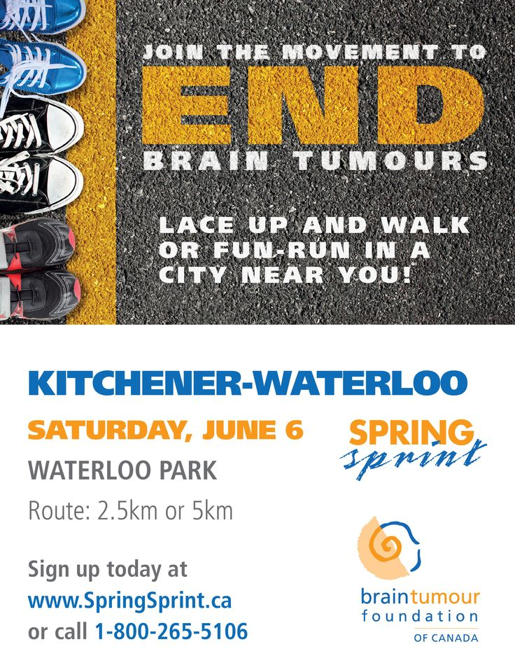 Saturday June 6, 2015 the movement to end brain tumours will be in Kitchener-Waterloo. Join us! http://www.springsprint.ca/site/TR?fr_id=1210&pg=entry