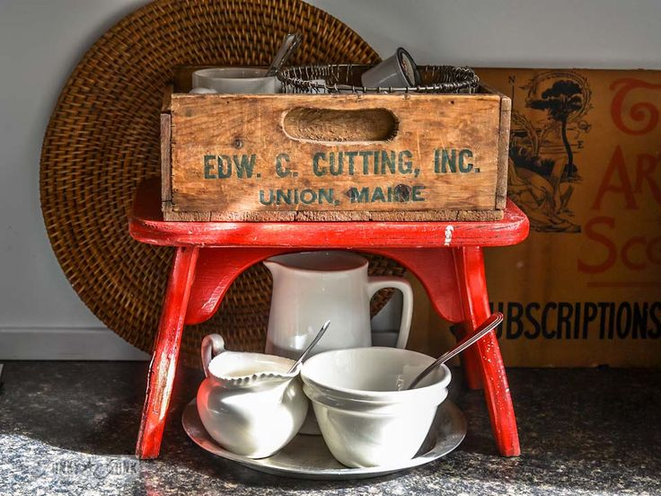 The junky little red bench and crate coffee station via http://www.funkyjunkinteriors.net/