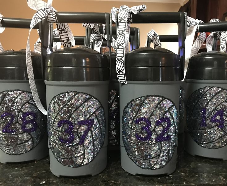 Volleyball team gifts.  Fun water jugs.