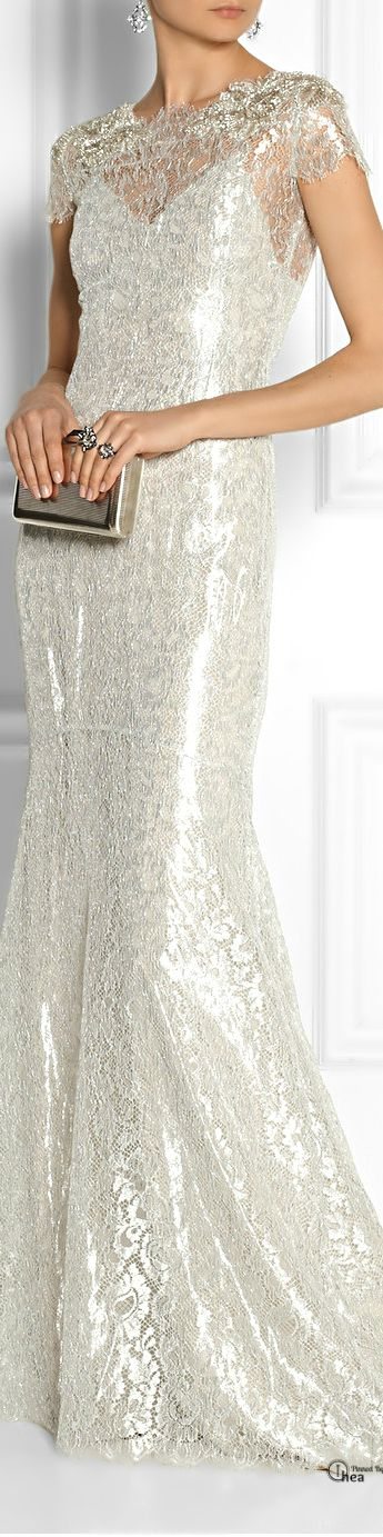 Marchesa Embellished metallic lace gown ... Check out the web site for 5 most suitable looks by using these glamorous white dress check http://topfashiondesigners.us/5-perfect-looks-with-white-dress/