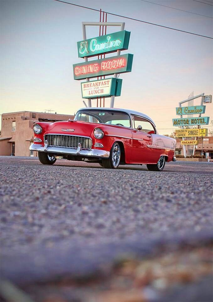 Reproduction Corvette Body >> 55 Chevy rolling on Route 66 | Classic American Beauty | Pinterest | Chevy, Furniture and Style