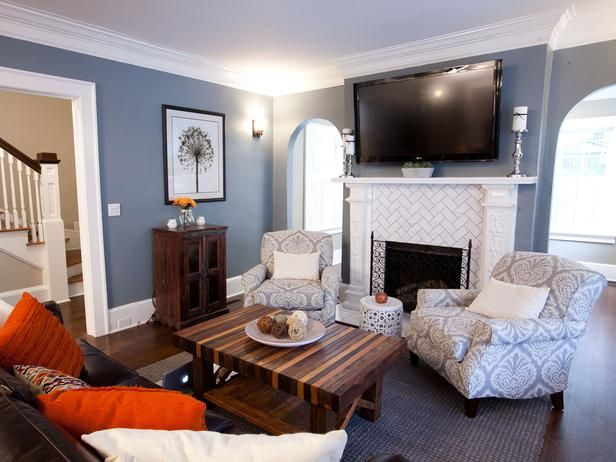 Cozy Den - Rockin' Renos from HGTV's Property Brothers on HGTV herringbone subway tile
