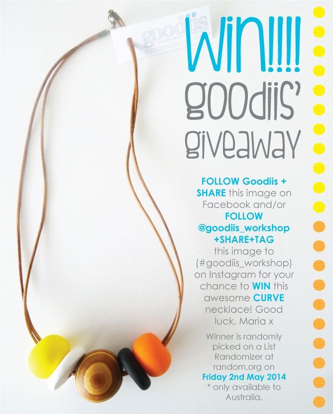 GOODIIS' FIRST GIVEAWAY!!! Follow the details and enter for your chance to win this beautiful Goodiis' Curve necklace. :-) Winner announced next Friday 2nd May. Good luck peops. Spread the word + make sure you share!! Maria x     Follow Goodiis on Facebook and goodiis_workshop on Instagram for further updates :-)