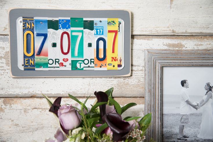 """Thanks for the kind words! ★★★★★ """"LOVE IT! Gave this to my husband to commemorate our 10 year anniversary. The plates used are from states where we have traveled together. It is very well made and arrived nicely gift wrapped. (Ironically, the package had the same color"""