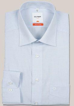 OLYMP Slim Hemd extra langer Arm mit New Kent Kragen im blauen Gitterkaro Dessin