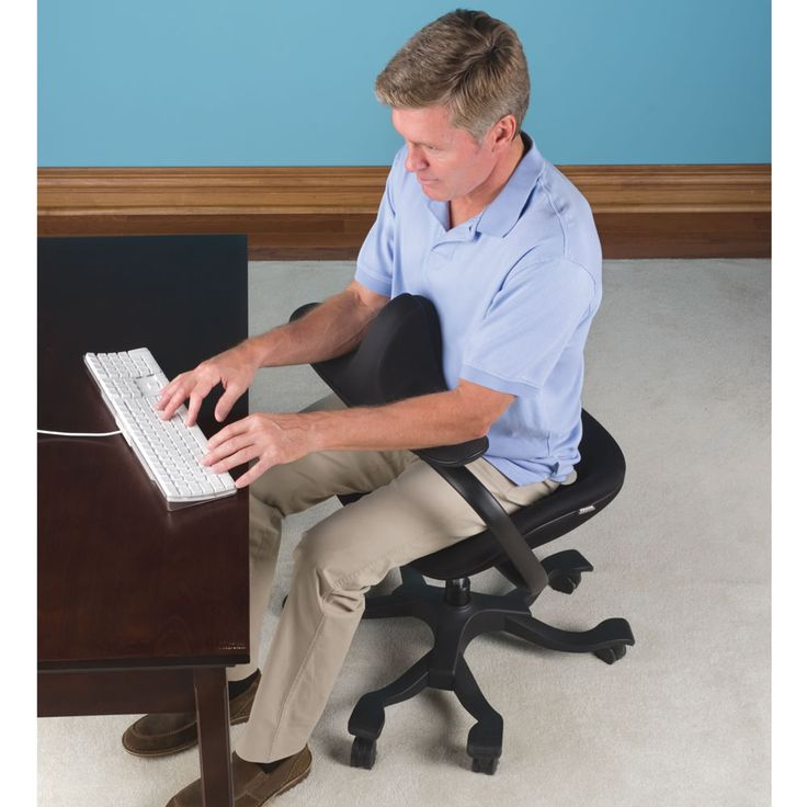 The Optimal Posture Office Chair has a chest rest that provides support as you lean in toward a keyboard or desk, preventing back strain caused by hunching over. $499.95 @ Hammacher Schlemmer