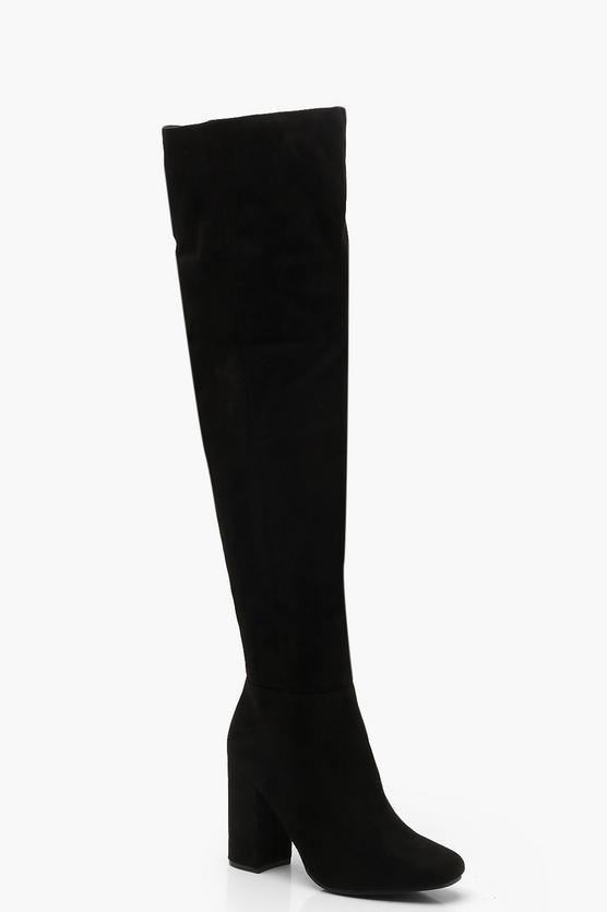 5a16debc37d  40 Boohoo Block Heel Over The Knee Boots