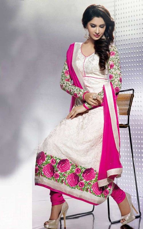 Off white and Pink Churidar Salwar Suit with Beautiful Embroidery