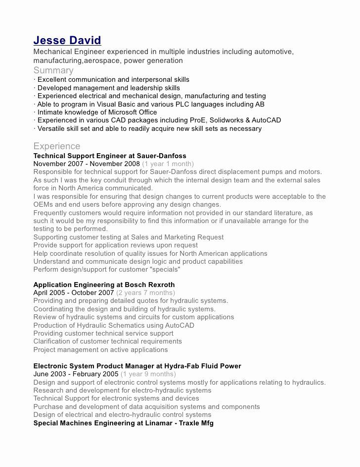 Mechanical Design Engineer Resume Luxury Jesse David Mechanical Engineer In 2020 Engineering Resume Job Resume Samples Mechanical Engineer Resume
