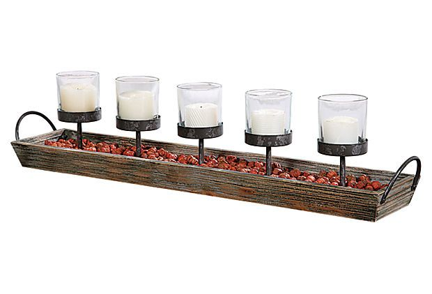 $40  Wood Tray & 5-Votive Holder