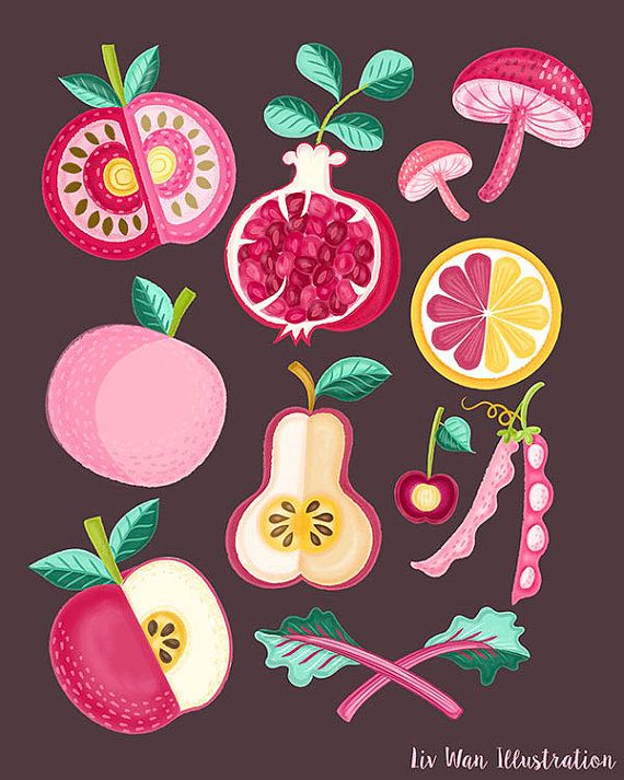 Pink Food Poster Illustration. Pink food. by Illustrated Kitchen on Etsy. UK Food illustrator Liv Wan
