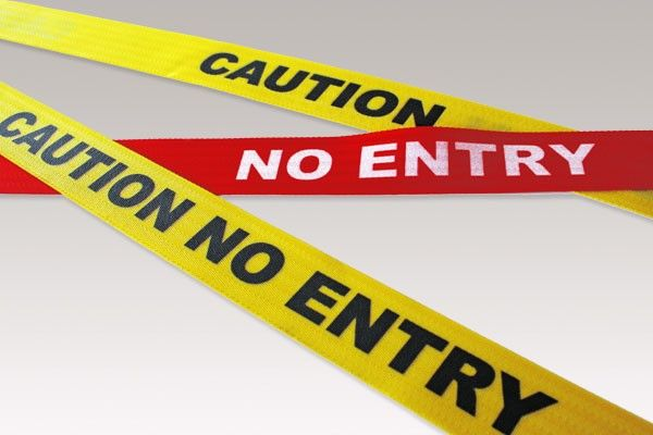 "Retractable Belt Printing- ""Caution No Entry"" – Black/Yellow - Spacepac Industries"
