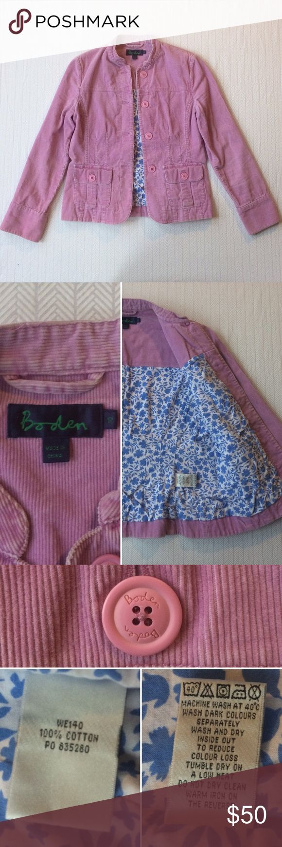 """💕🌷Boden Corduroy Jacket Think spring with this great orchid pink corduroy jacket from Boden. This one has amazing details, like adorable Boden buttons and a blue and white floral lining. In excellent used condition. 17.5"""" pit to pit. 23"""" from shoulder to hem. Make me an offer. Discount on bundles of two or more. Boden Jackets & Coats"""