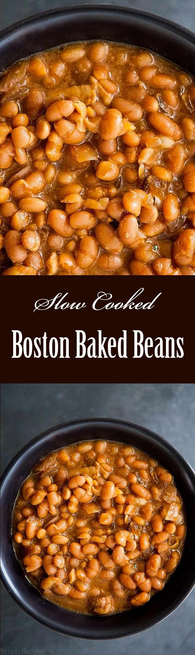 Slow cooked crockpot Boston Baked Beans! Loads of molasses flavor. Great with hot dogs or franks! Perfect for serving a crowd. #GameDay #SuperBowl On SimplyRecipes.com
