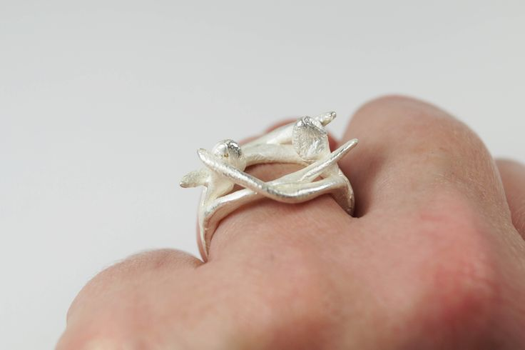 Hug, Handmade silver 925 ring for women, Inspired by micro-sculpture, Dimensions 2.5 x 2.5 cm