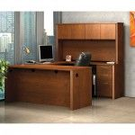 Personal Office Design – Bestar Collections – Embassy Tuscany Brown U-Shaped Workstation and Accessories Kit
