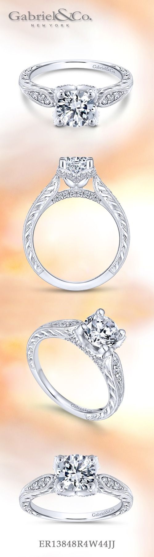 Gabriel NY - Voted #1 Most Preferred Fine Jewelry and Bridal Brand. Vintage 14k White Gold Round Straight  Engagement Ring