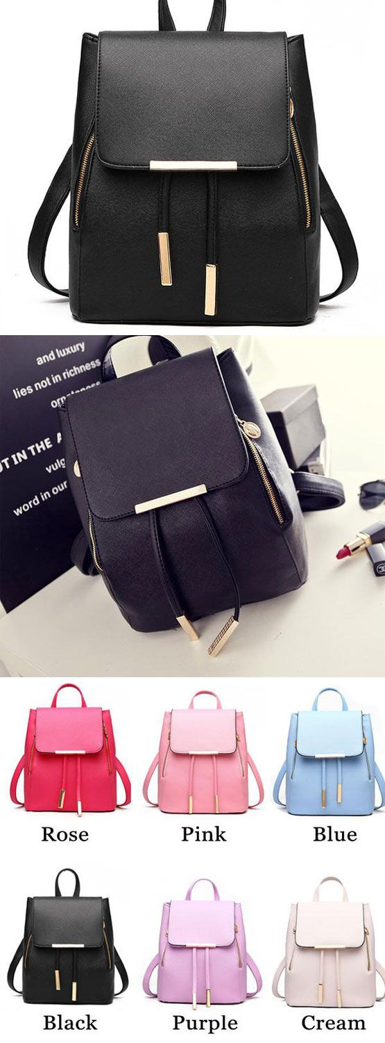 Fashion Black Solid Simple Square PU Drawstring Hasp Satchel Backpack for big sale! #simple #square #fashion #solid #pu #backpack #Bag