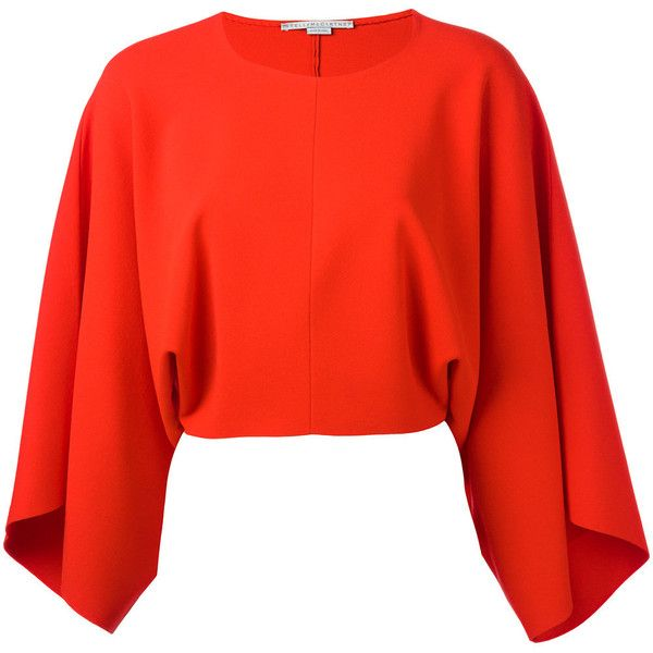 Stella McCartney Drape Sleeve Blouse ($985) ❤ liked on Polyvore featuring tops, blouses, red, red crop top, rayon tops, red blouse, cut-out crop tops and long-sleeve crop tops