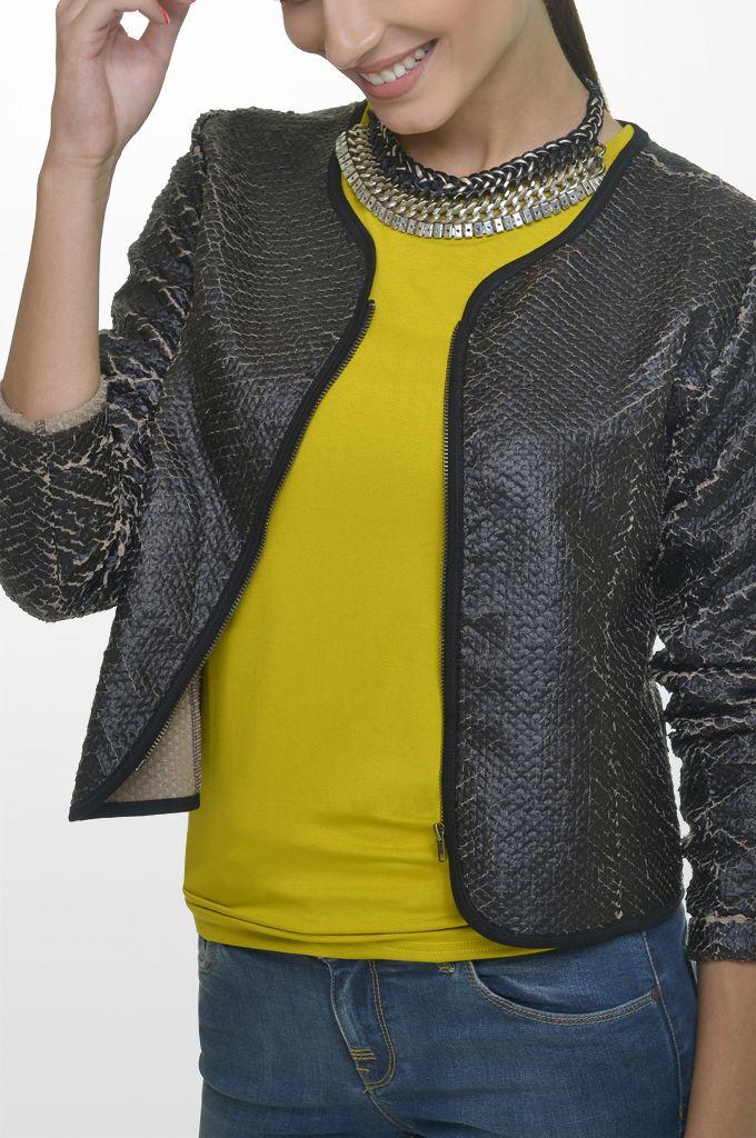 Sarah Lawrence - fake leatheret crew neck zip blazer, jersey long sleeve blouse, skinny denim pant, necklace.