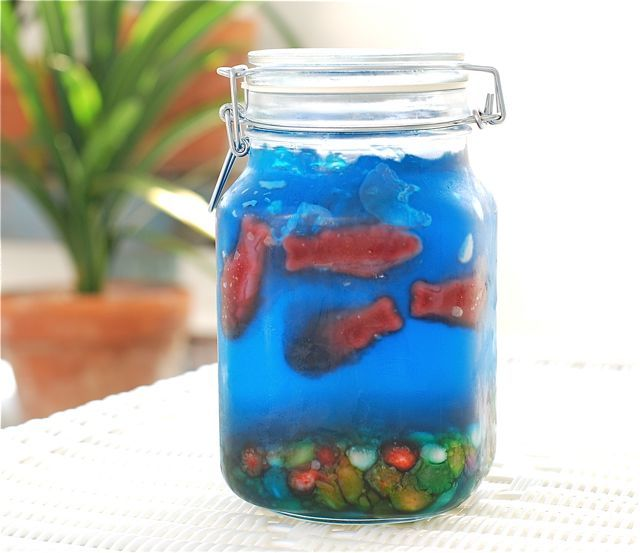 The Jello Fishbowl for Kids...with Swedish fish and jelly beans for rocks. So cute. And serve this to the adults http://gourmetdude.com/the-fishbowl-drink/: Kids Parties, Jello Fishbowl, Birthday Parties, For Kids, Food, Cute Ideas, Swedish Fish, Fun, Jelly Beans