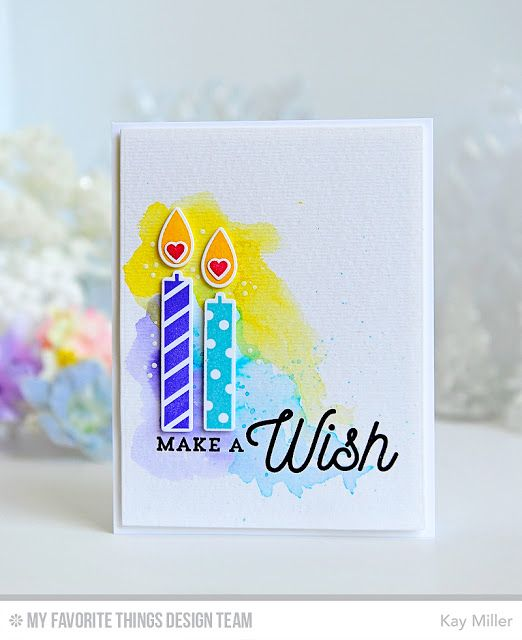 handmde birthday card from My Joyful Moments: Make A Wish Card kit ... pair of die cut candles wih hearts in the flames .... water color wash .... lots of white space ... bright and cheerful ...