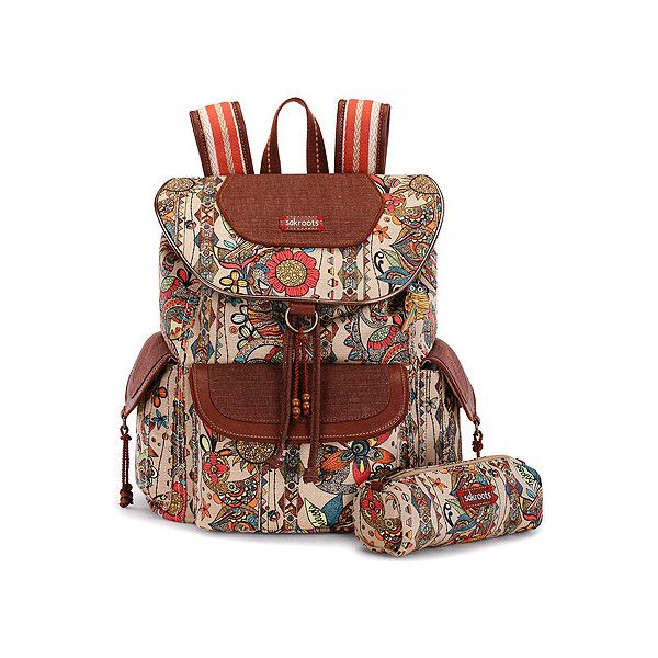 Sakroots Artist Circle Flap Backpack ($79) ❤ liked on Polyvore featuring bags, backpacks, camel spirit desert, draw string backpack, laptop tablet backpack, drawstring backpack, day pack backpack and laptop backpacks