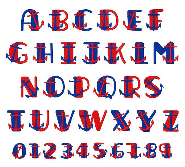 Home Format Fonts Embroidery Font: Nautical Font from Hopscotch