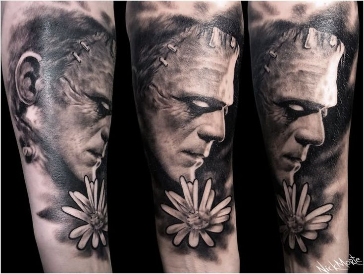 Black And Grey Frankenstein Head With Flower Tattoo Design For Full Sleeve By Nick Morte