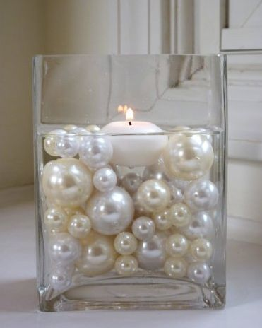 candle centerpieces Water Pearls for weddings | Something Sweet Boutique