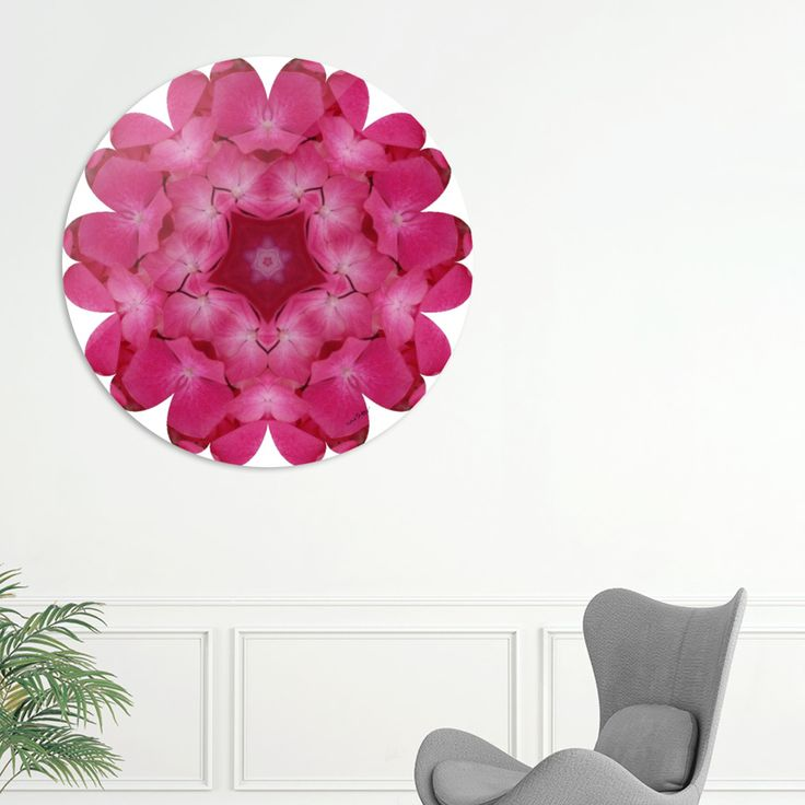 "Khoncepts ""Pink Floral Mandala"" Sublimation art print on a .045 thick aluminum disk. Includes wall hanging hardware. Manually numbered, signed, and shipped with a certificate of authenticity."