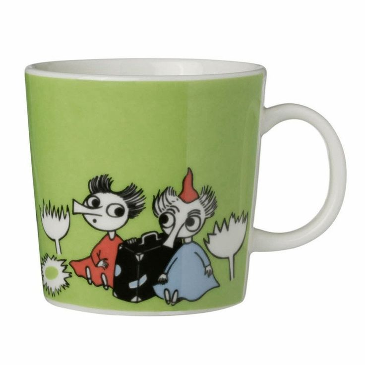 This green Moomin mug by Arabia from 2008 features Thingumy and Bob. It's…