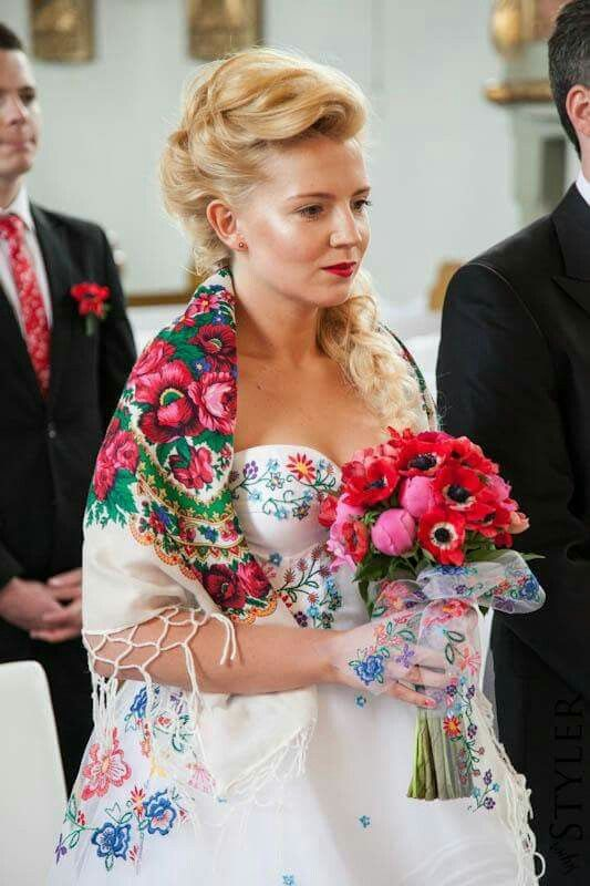 A wedding dress  embroidered with elements typical for Polish Highlanders 'art.