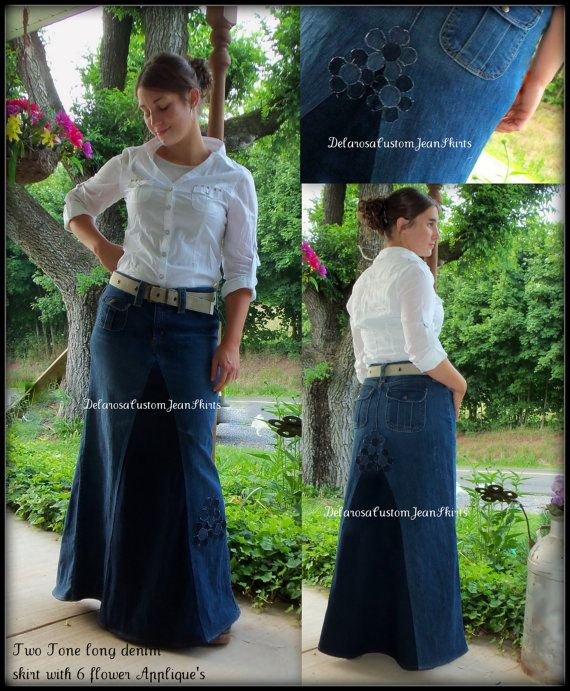Custom Order Two Tone Long Jean Skirt With By CustomJeanSkirts
