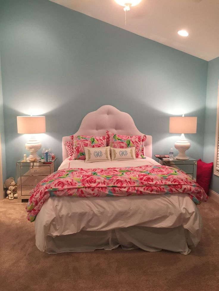 Lilly Pulitzer and pottery barn teen comforter with monogrammed pillows. Bedside tables from bed bath and beyond