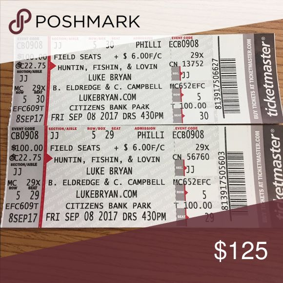 Luke Bryan Concert Tickets!!! Message me!! Concert tickets for 4:30 pm today at Citizens Bank Park! Ticketmaster Other