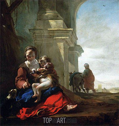 "Jan Baptist Weenix (1621 -1660) ""Отдых на пути в Египет"". 1647 - 1650 года."