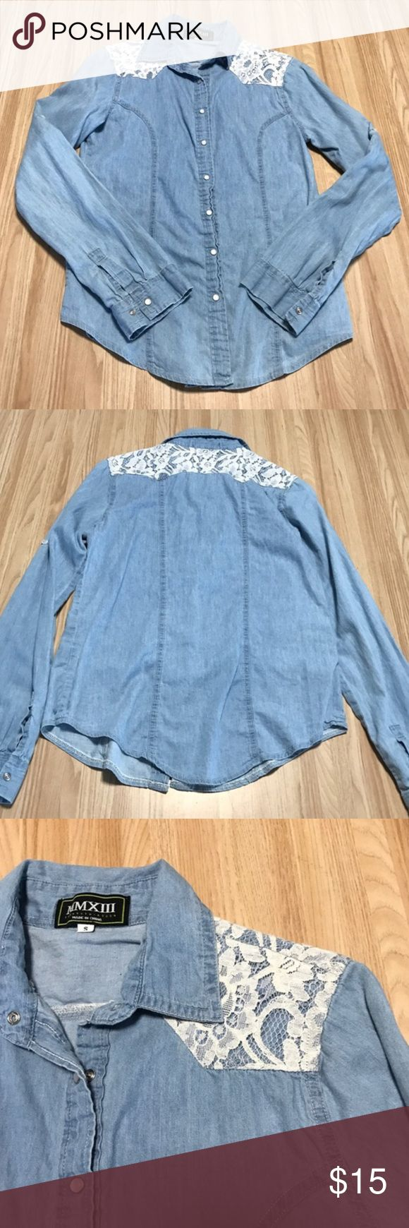 Lace Chambray Top EUC. Chambray top with crochet / lace shoulder details. Snap button closure.  no trades | offer button only Tops