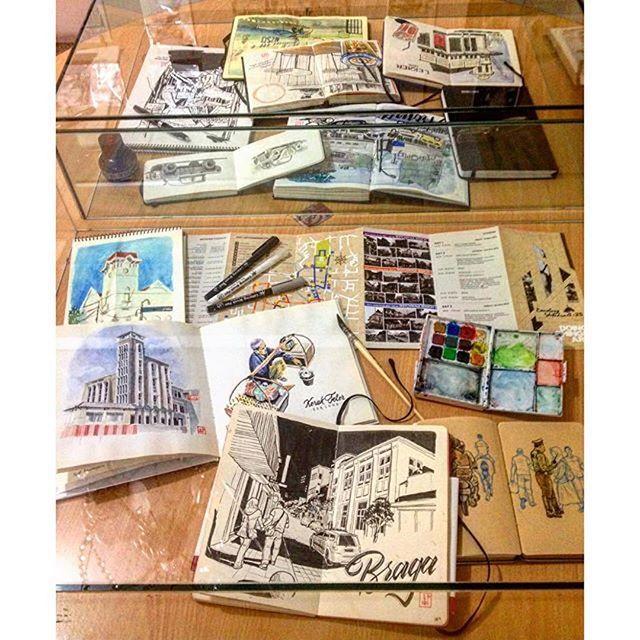 @coretanino's sketchbooks & tools | 'Bandung in Sketches' an exhibition of sketches made during Bandung Sketchwalk #25 International Edition; at Ruang Seni Kolase, home of Bandung Sketchwalk, Jalan Anggrek 15 | Among the exhibits are sketches by: Abey Zoul, Namchai Saensupha, @lkbing @ichsanharja @ridwankamil Jayson Yeoh, @Coretanino, @bulao @er.bandung @KiahKiean, Hockeng Tay, @AchmadTardiyana, and many others. Regram from @coretanino #sketchwalker #bandungsketchwalk #urbansketchers