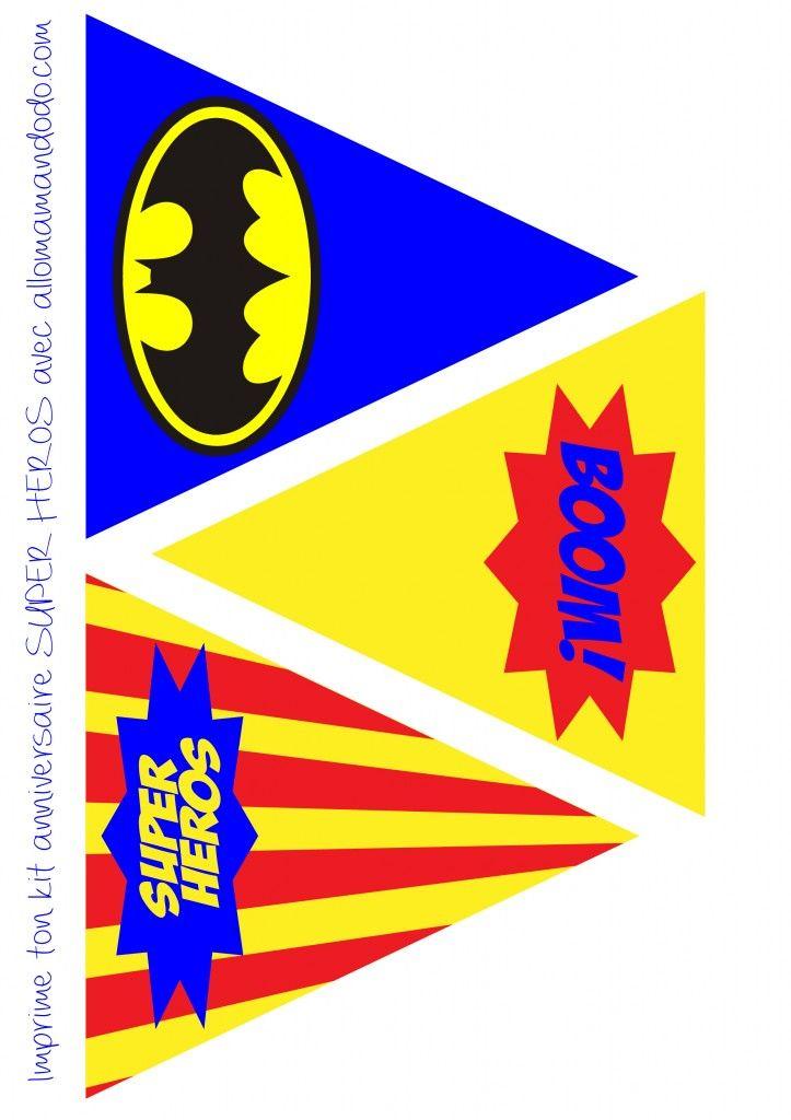 décoration anniversaire super héros fanion imprimer free printable  http://allomamandodo.com/anniversaire-de-super-heros-deco-sweet-table-kit-imprimer-en-cadeau/