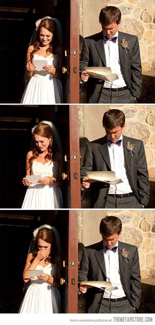 Bride and groom's reactions to reading their wedding vows to one another.