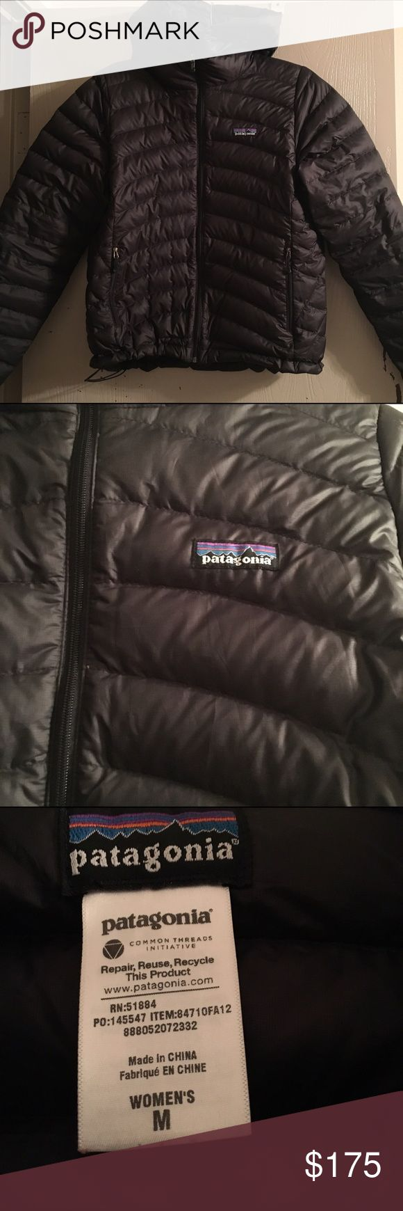 Patagonia Down Hoody Medium Gently used Patagonia Down Sweater Hoody, size medium, slight normal wear, price greatly reflects any wear! Perfect for EVERYTHING!! Make me an offer Patagonia Jackets & Coats
