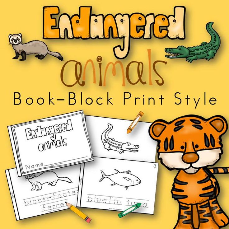 Endangered Animals book for kindergarten and first grade block print style
