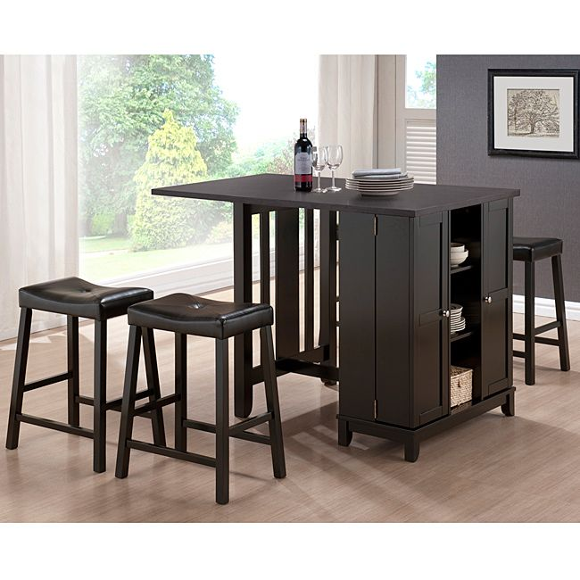 Update Your Kitchen With A Five Piece Dark Brown Modern Pub Table Set. The