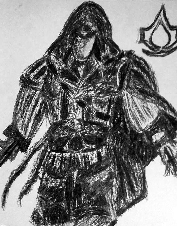 Ezio Auditore da Firenze; Size: A4; Technic: carbon; Game: Assassin's Creed - Broterhood (Ubisoft, 2010)