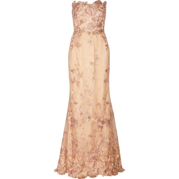 Marchesa Notte Embroidered tulle gown ($628) ❤ liked on Polyvore featuring dresses, gowns, gown, blush, embroidered dress, tulle ball gown, loose dress, rose dress and sequin gown